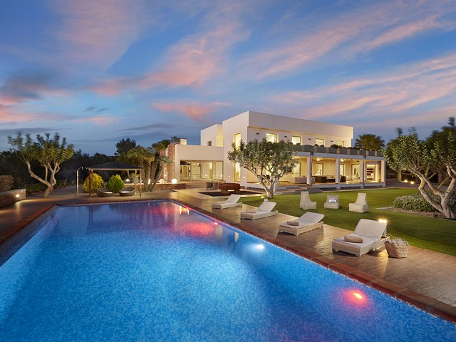 ibiza villa by night