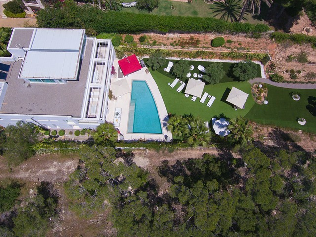 arial view of luxury ibiza villa