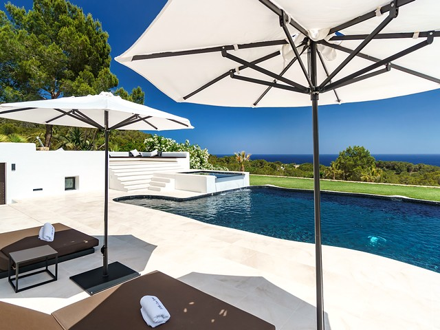 the pool and view from villa