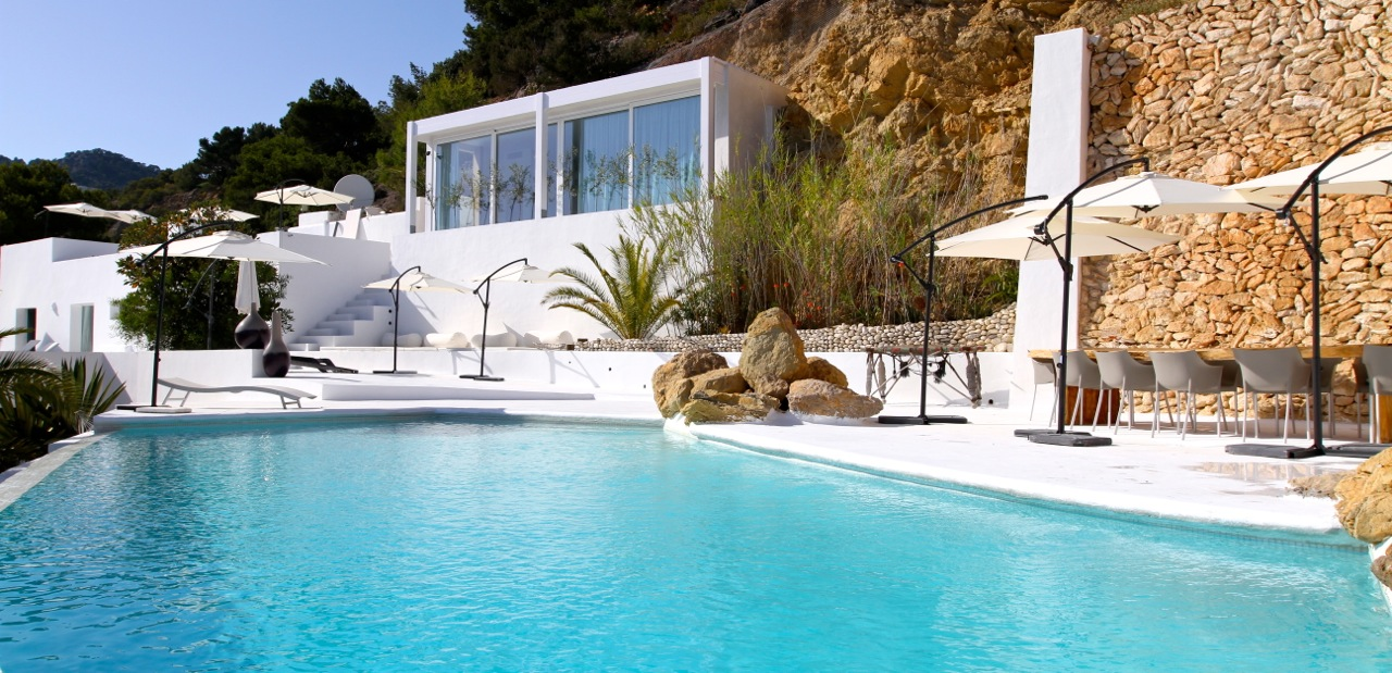 A luxury Ibiza villa for rent overlooking the bay of Es Cubells
