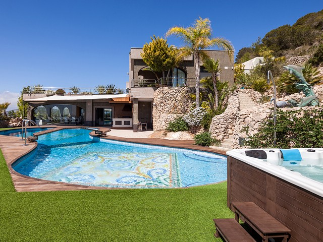 pool and ibiza holiday villa